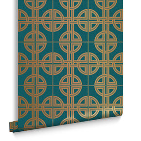 Asian Lattice Teal Wallpaper, , large