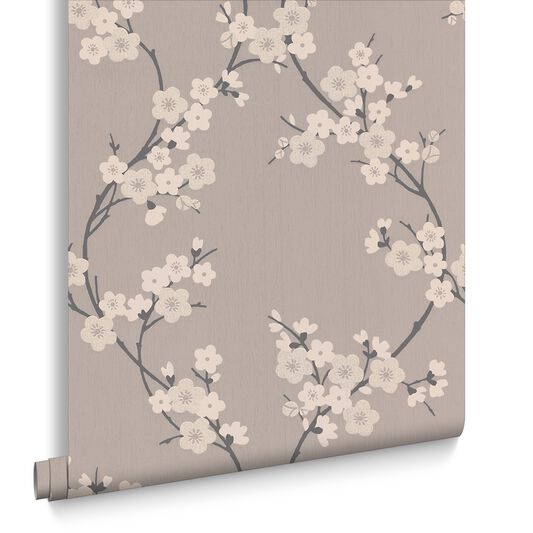 Cherry Blossom Taupe and Charcoal Wallpaper, , large
