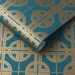 Asian Lattice Teal Wallpaper