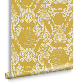 Geo Damask Tapete Gelb, , large