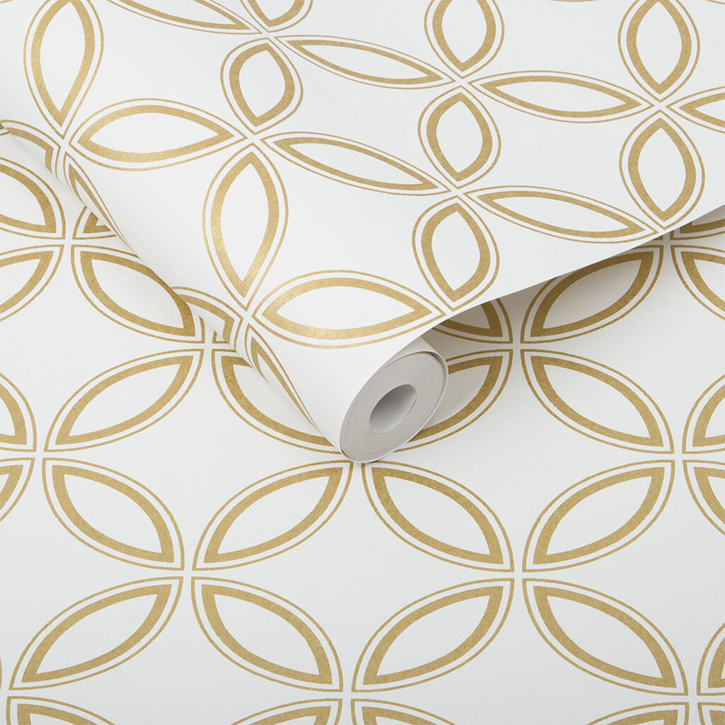 Eternity White and Gold Wallpaper, , large