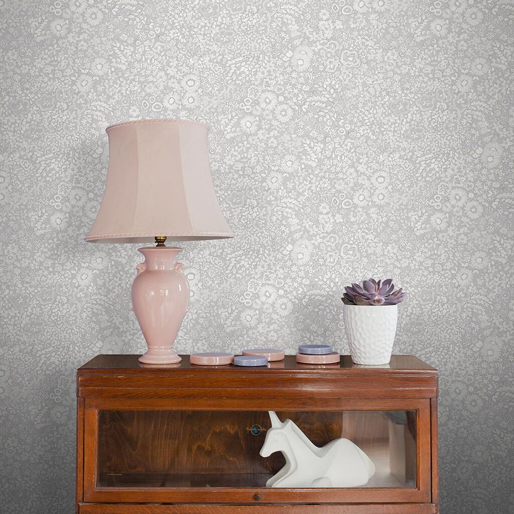 Olivia Embroidery Grey Wallpaper, , large