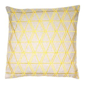 Graphic Ochre & Grey Cushion, , large
