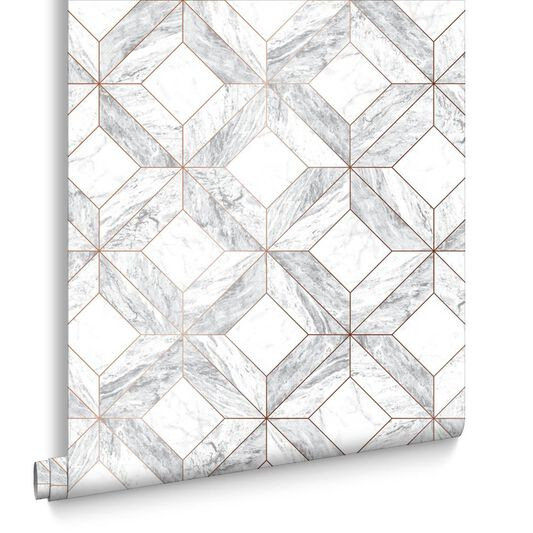Marble Marquetry White & Rose Gold Wallpaper , , large