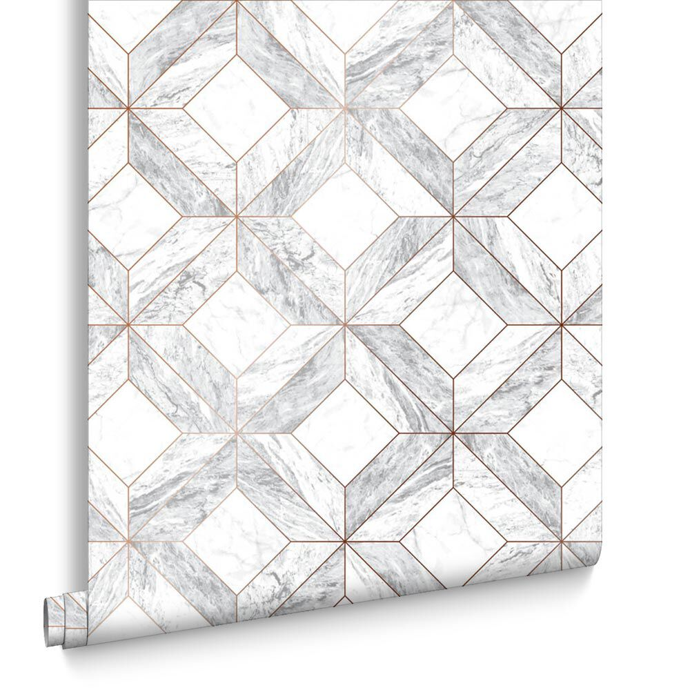 Marble Marquetry White U0026 Rose Gold Wallpaper , ...