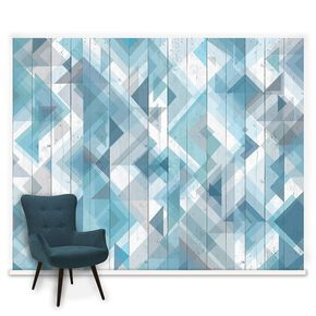 Fotobehang Couture Geo Wood Blue, , large