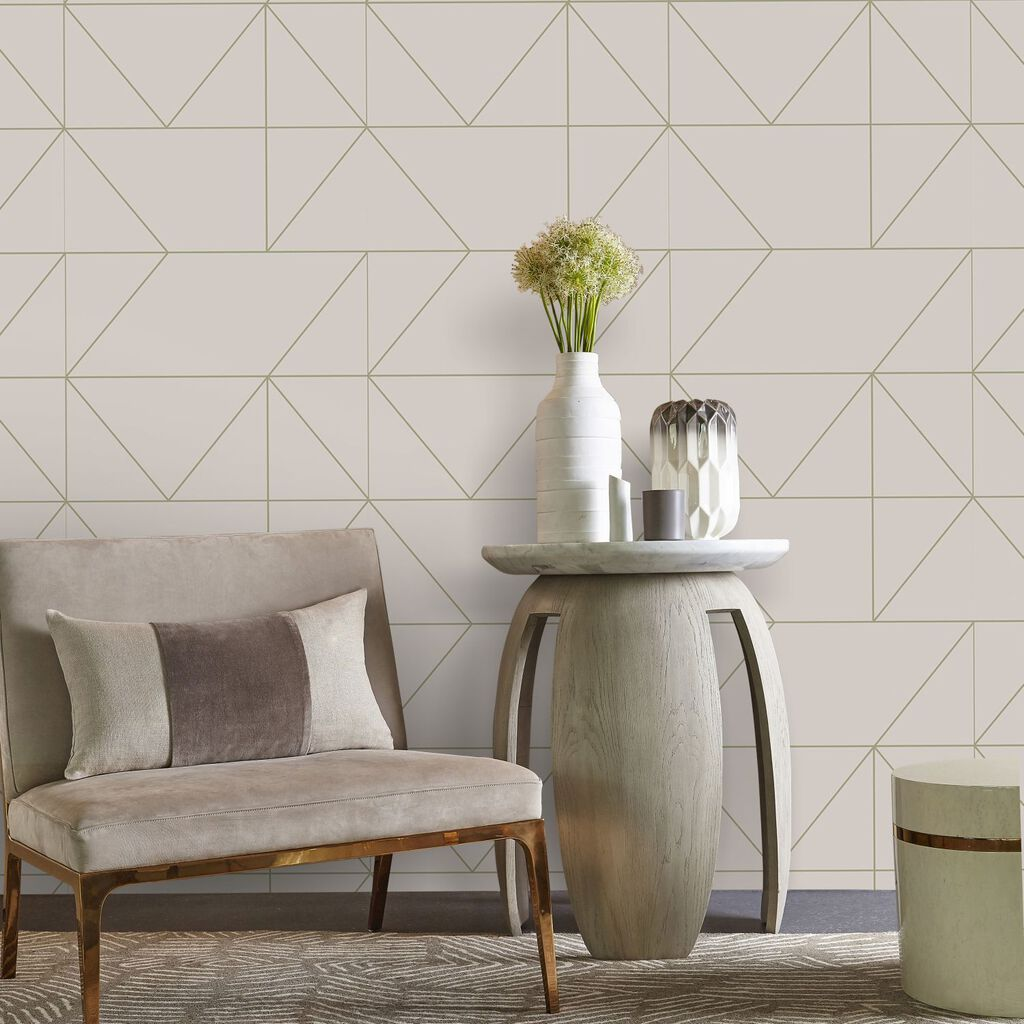 Geo Taupe and Khaki Wallpaper, , large