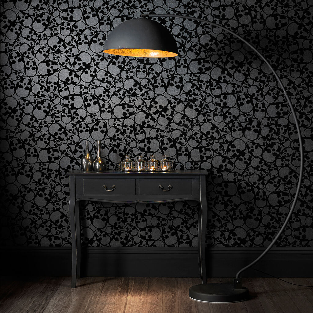 Skulls Flock Black Wallpaper, , large