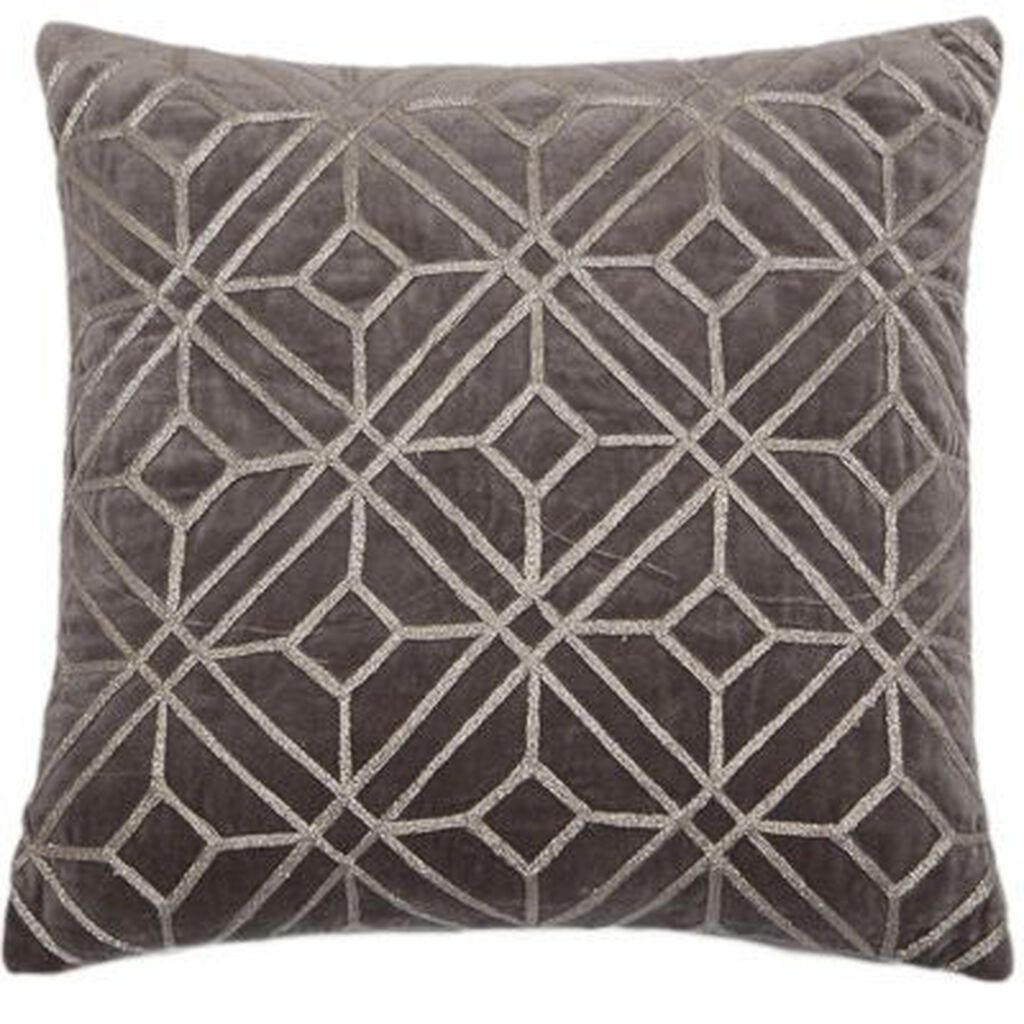 Coussin Silver Geometric Embroidered, , large