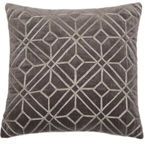 Silver Geometric Embroidered Cushion, , large