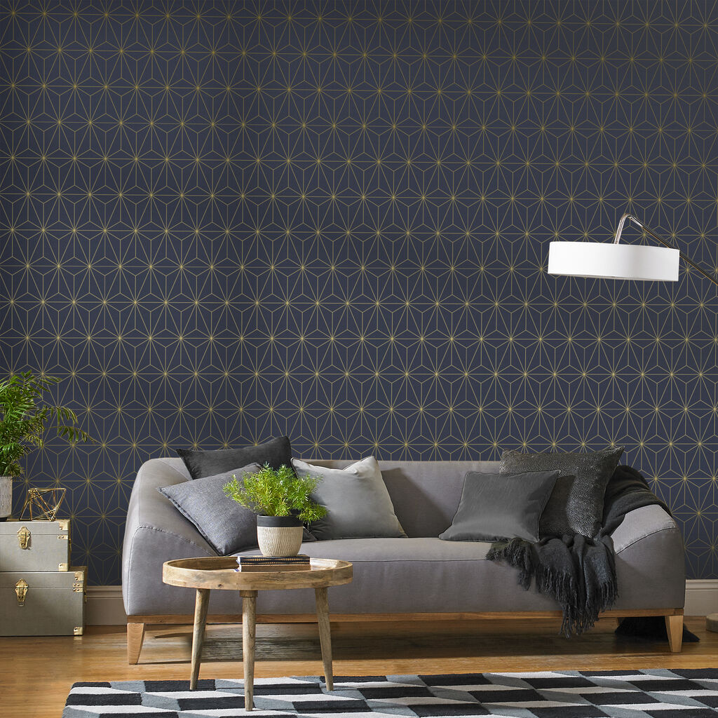 Prism Navy & Gold Wallpaper, , large