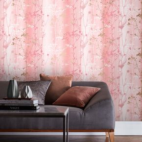 Wild Flower Coral Wallpaper, , large