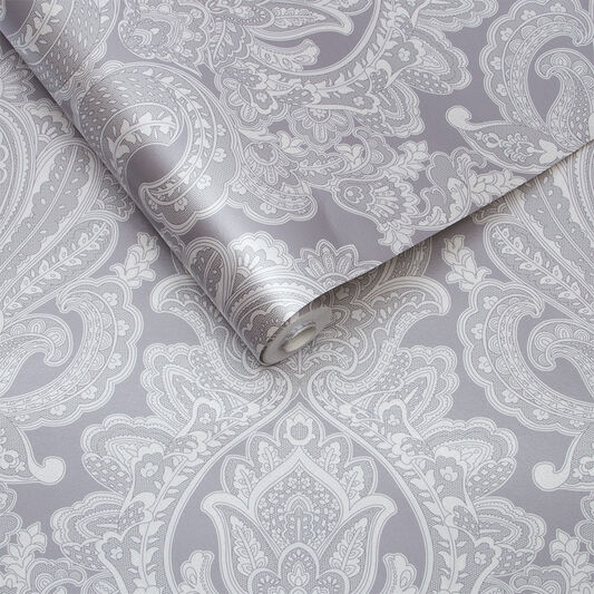 Souk Damask Pewter Wallpaper, , large