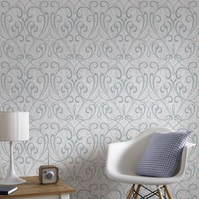 Pale Blue / Silver Cork Damask Behang, , large