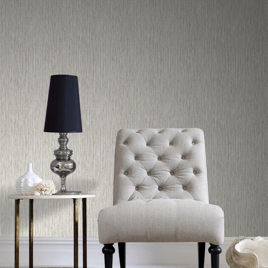 Grasscloth Cream Wallpaper, , large