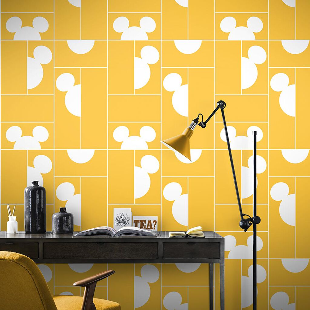 Mickey Mosaic Yellow Wallpaper, , large