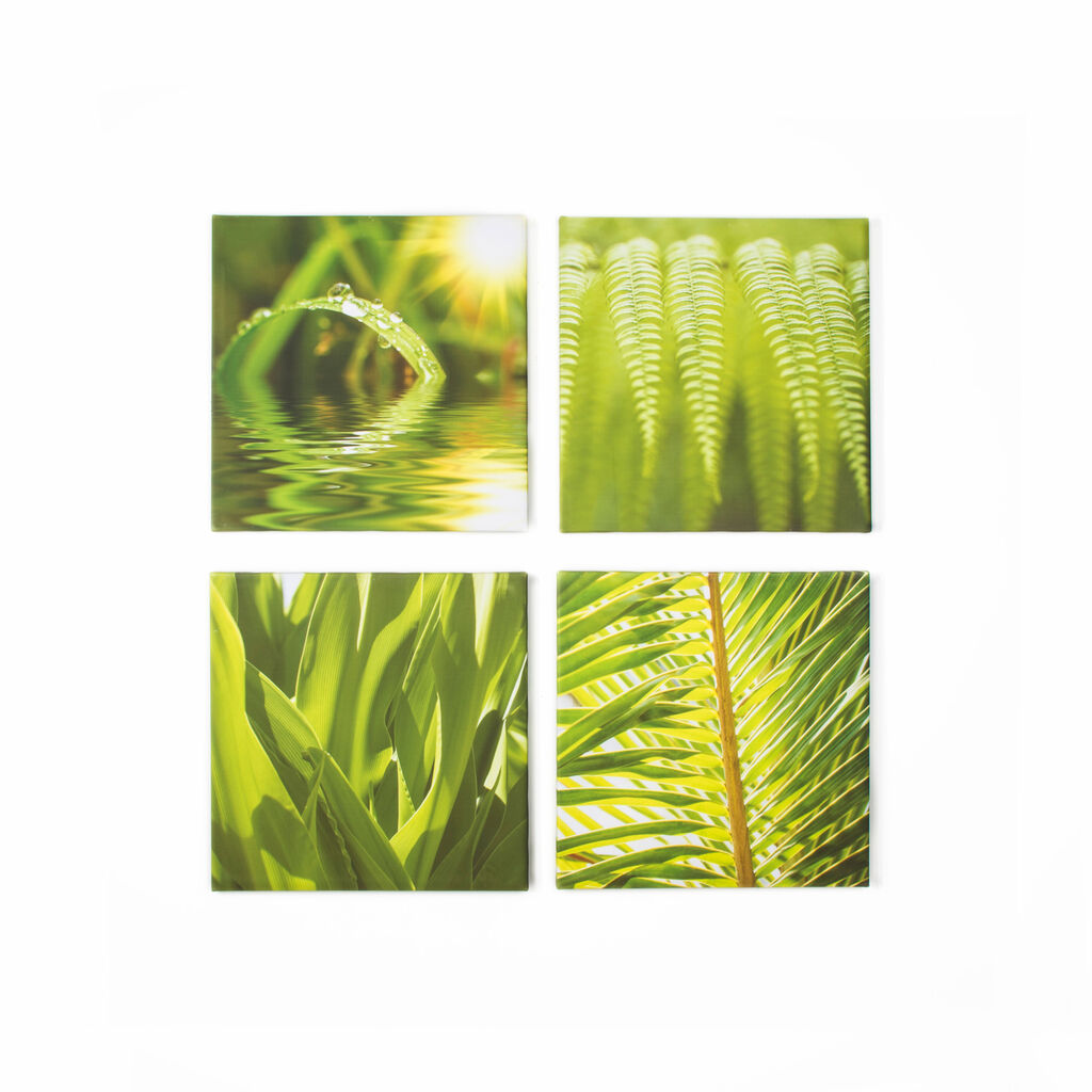 Green Leaf Quad Printed Canvas Wall Art , , large