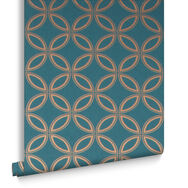 Eternity Teal & Gold Behang, , large