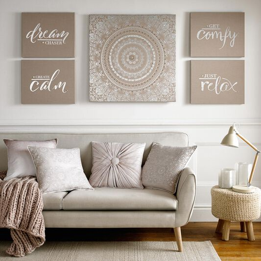 Just Relax Embellished Fabric Canvas Wall Art, , large