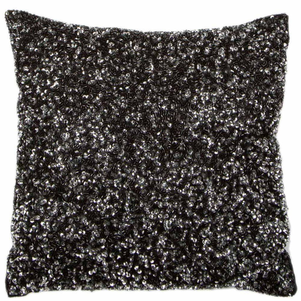 Glimmerous Black Beaded Kissen, , large