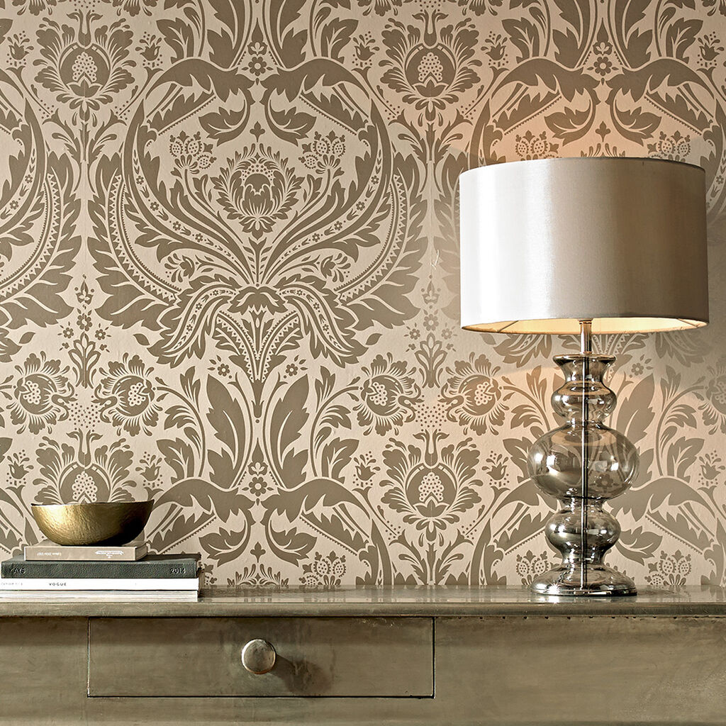 Desire Taupe And Metallic Wallpaper