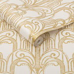 Art Deco Gold and Pearl Wallpaper