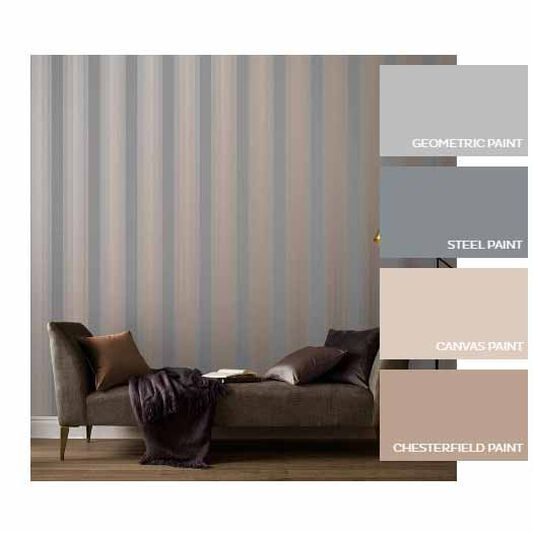 Lagom Stripe Grey & Rose Gold Wallpaper, , large