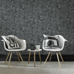 Marbled Black and Gray Wallpaper , , large