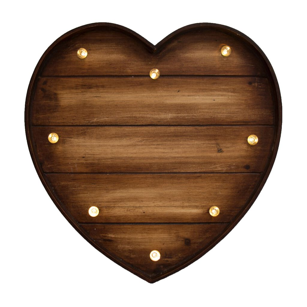 Lit Wood Effect Heart  Metal Art, , large