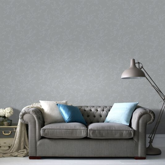 Springtime Grey and Silver Wallpaper, , large