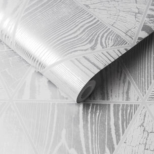 Geo Grain Silver Wallpaper, , large