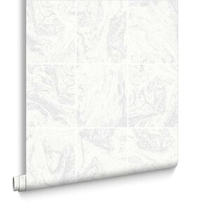 Glitter Marble Tile White Wallpaper, , large
