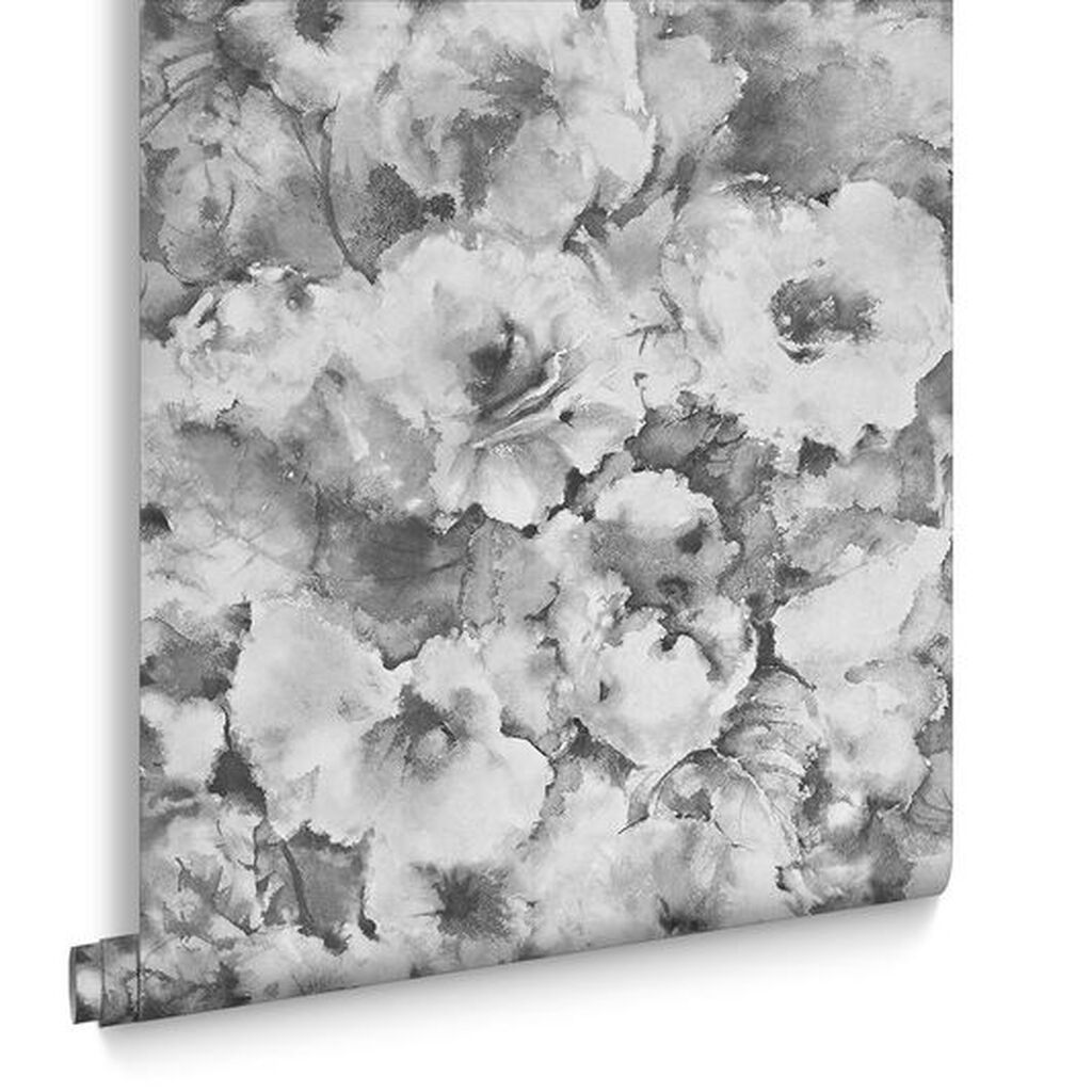 Grey Floral Wallpaper Boheme Mono Wallpaper Flower