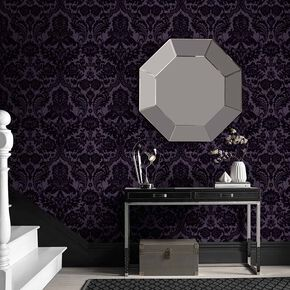 Gotic Damask Tapete Pflaume, , large