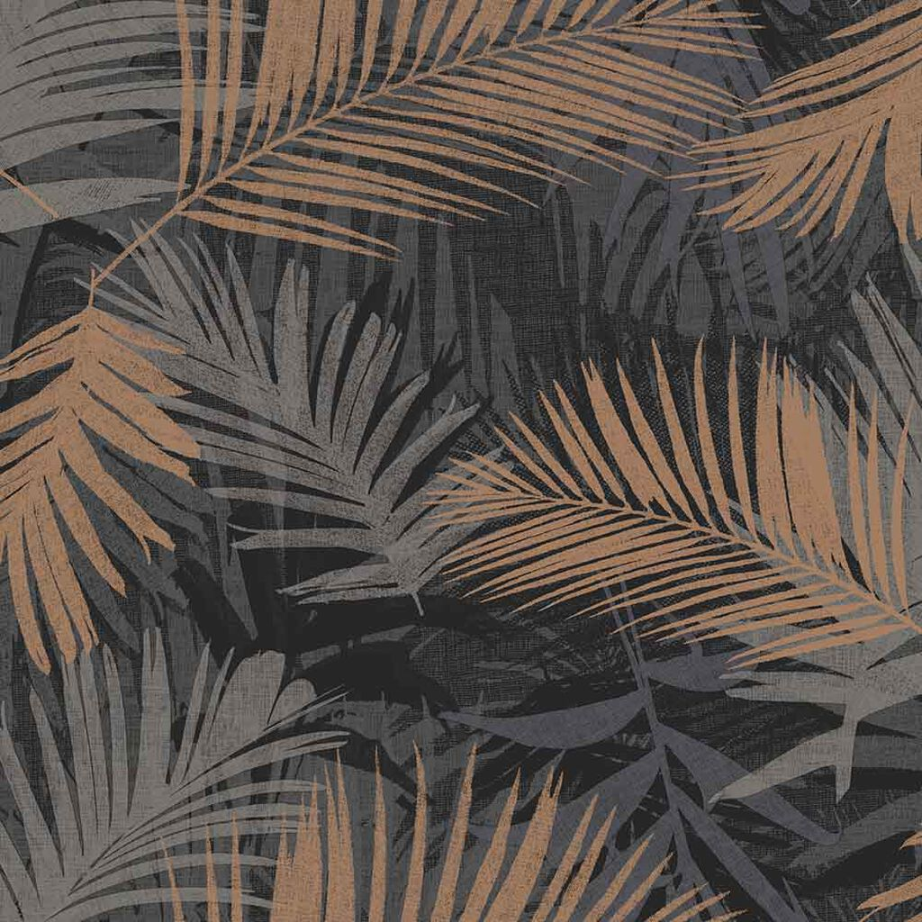 Jungle Glam Black & Gold Wallpaper, , large