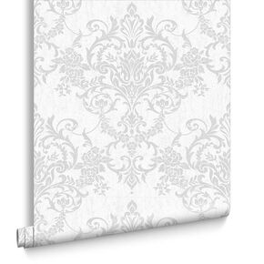 Victorian Damask Silver Wallpaper, , large