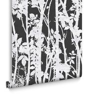 Fabric Branches Black Wallpaper, , large