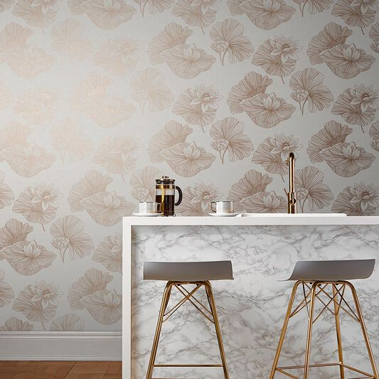Lotus Cream Wallpaper, , large