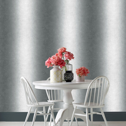 Ombre Stripe Mono Wallpaper, , large