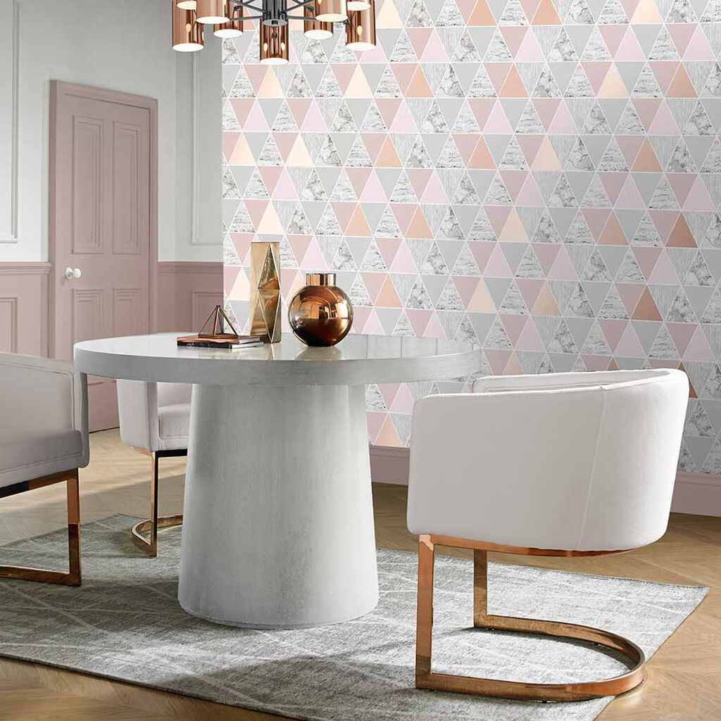 Gold Geometric Wallpaper Rose Gold Reflections Wallpaper