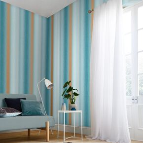 Wild Flower Stripe Teal Wallpaper, , large