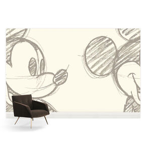 Mickey Sketch Taupe Bespoke Mural, , large