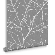 Innocence Charcoal and Silver Wallpaper , , large