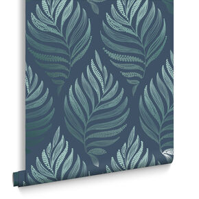 Botanica Teal Wallpaper, , large