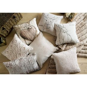 Printed Chunky Knit Pillow, , large
