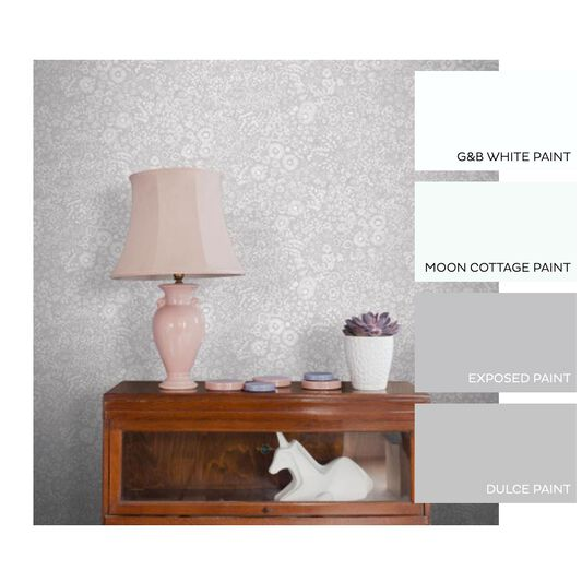 Olivia Embroidery Gray Wallpaper, , large