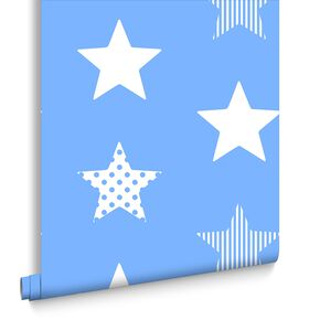 Superstar Blue Behang, , large