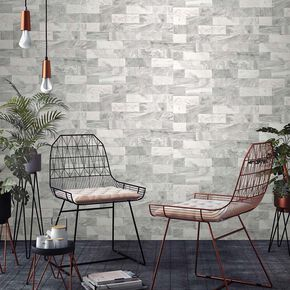 Herringbone Marble White Wallpaper, , large