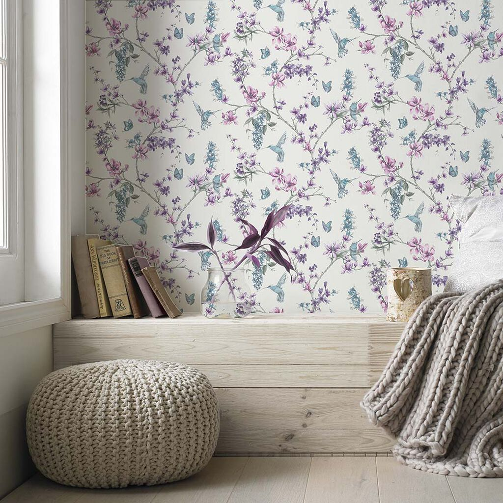 Simplicity Pearl & Lilac Wallpaper, , large