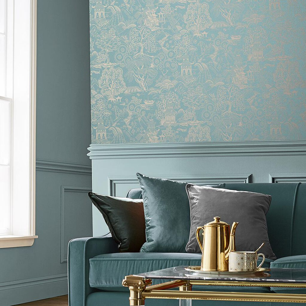 Basuto Duck Egg Wallpaper Blue Wallpaper Graham Brown